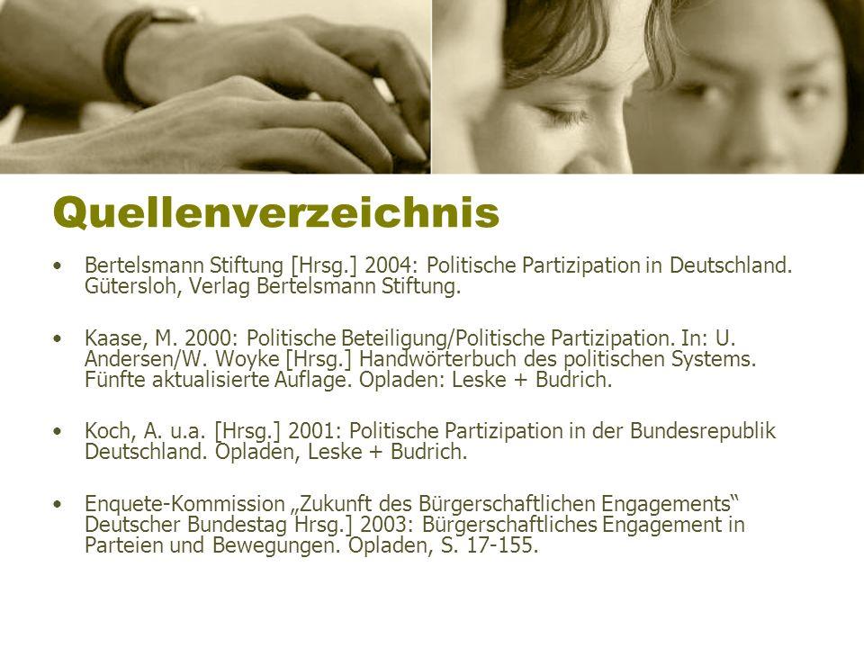 Quellenverzeichnis Bertelsmann Stiftung [Hrsg.] 2004: Politische Partizipation in Deutschland. Gütersloh, Verlag Bertelsmann Stiftung.
